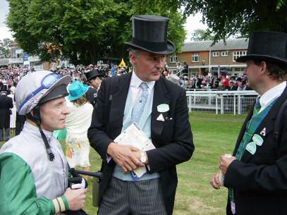 Mark Johnston at Ascot sporting a fine black silk top hat